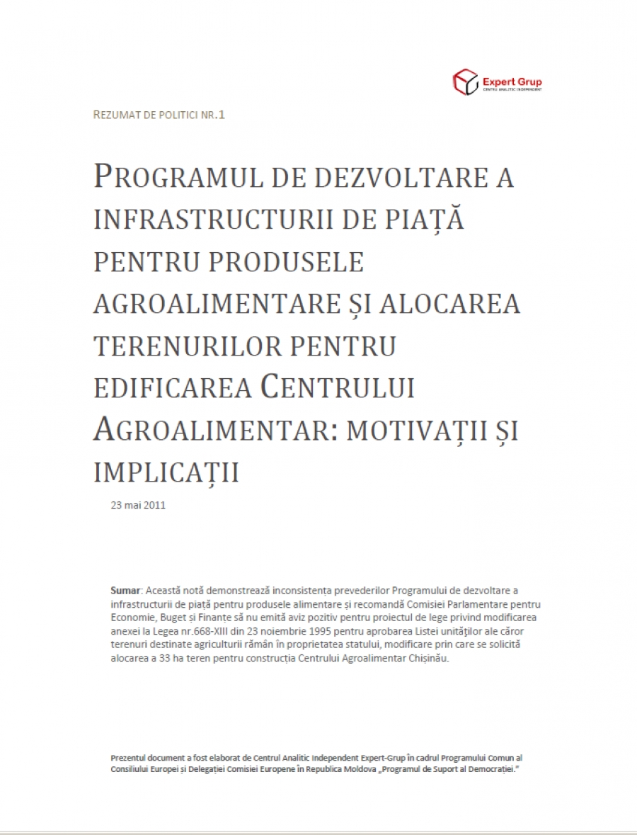 Program for Development of the Food Market Infrastructure and Allocation of A Plot of Land for Agri-Food Center: Motivations and Implications