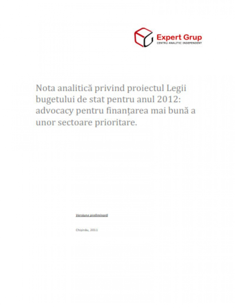 Analytical Note on the draft Law on the State Budget for 2012: Advocacy for Better Financing of Priority Sectors