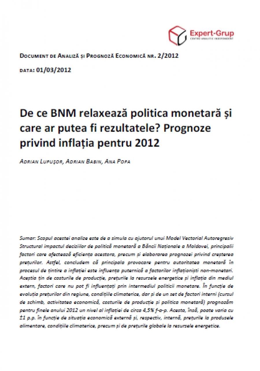Why Does the NBM Relax its Monetary Policy, And What Could be The Results? Inflation Forecasts for 2012